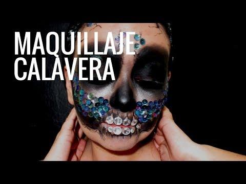 Calavera maquillaje con lentejuela/Halloween skull makeup